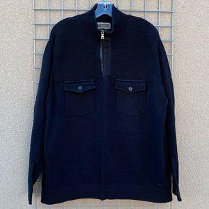 Men's Two Pocket Quarter Zip Black Sweater